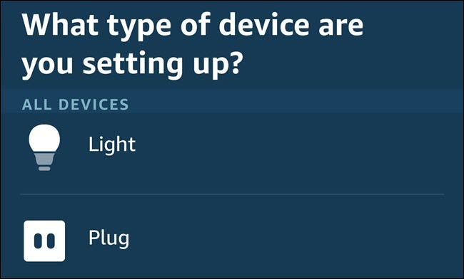 The device category menu in the Alexa app.