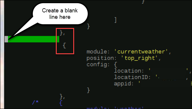 modules code, with a newline inserted after }, and before {