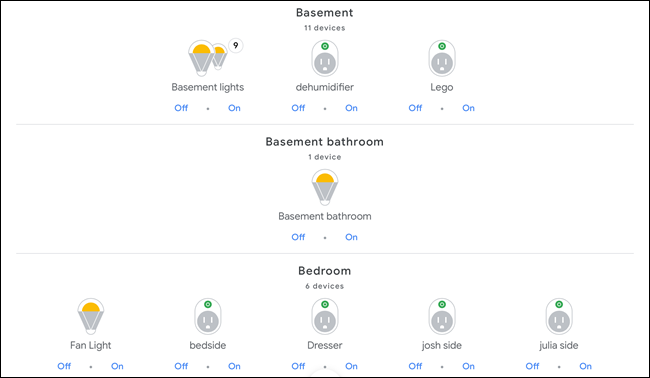 Google Home showing smart devices in a basement and bedroom.