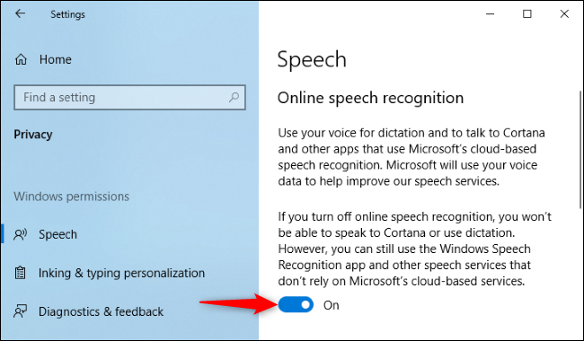 Halting sharing of Cortana voice recordings with Microsoft